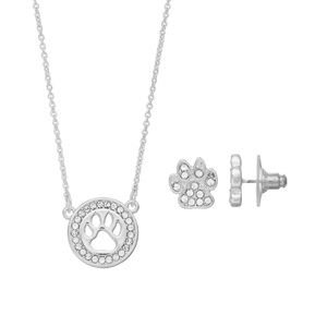 Jewelry - Pet Mom Paw Print Necklace & Earring Set